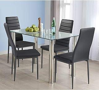 HOMYCASA - Juego de 5 sillas y mesa de comedor de cristal y 4 sillas acolchadas, juego de muebles de cocina y comedor, color negro
