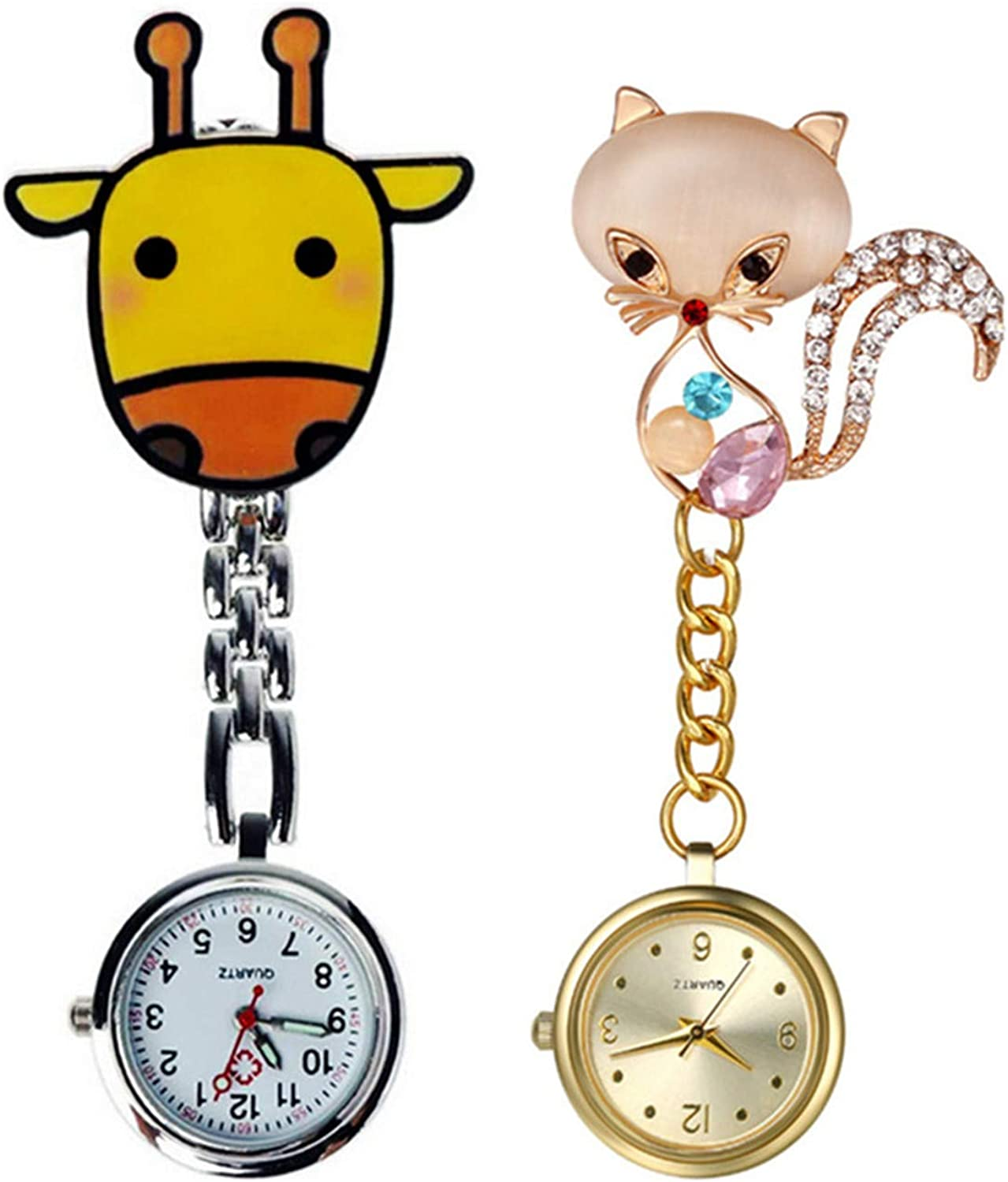 Pack 2 Giraffe Fox Nurse Fob Medical Wa Large special price Watch Brooch Pocket Recommended Hang