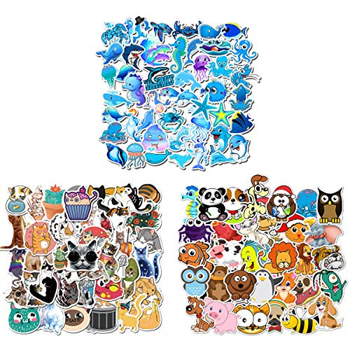 150PCS Cat Marine Life Cartoon Animal Stickers for Water Bottles,Cute,Waterproof,Aesthetic,Trendy Stickers for Teens,Girls,Perfect for Laptop,Hydro Flask,Phone,Skateboard,Travel| Extra Durable Vinyl