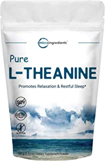 Pure L-Theanine Powder, 100 Grams, Supports Stress, Anxiety Relief and Promotes Mood Balancing and Sleep, No GMOs and No G...