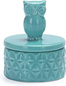 Bico Green Owl Ceramic Jewelry Case Trinket Ring Holder, Case 2.6 inch Diameter, Wedding Anniversary, Birthday, for Bathroom, Kithchen, Night Stand