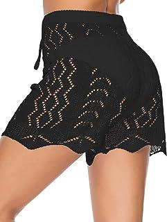 Julier Womens Cover Up Pants Sexy Hollow Out Crochet High Waist Mesh Beach Bikini Swimsuits Pants