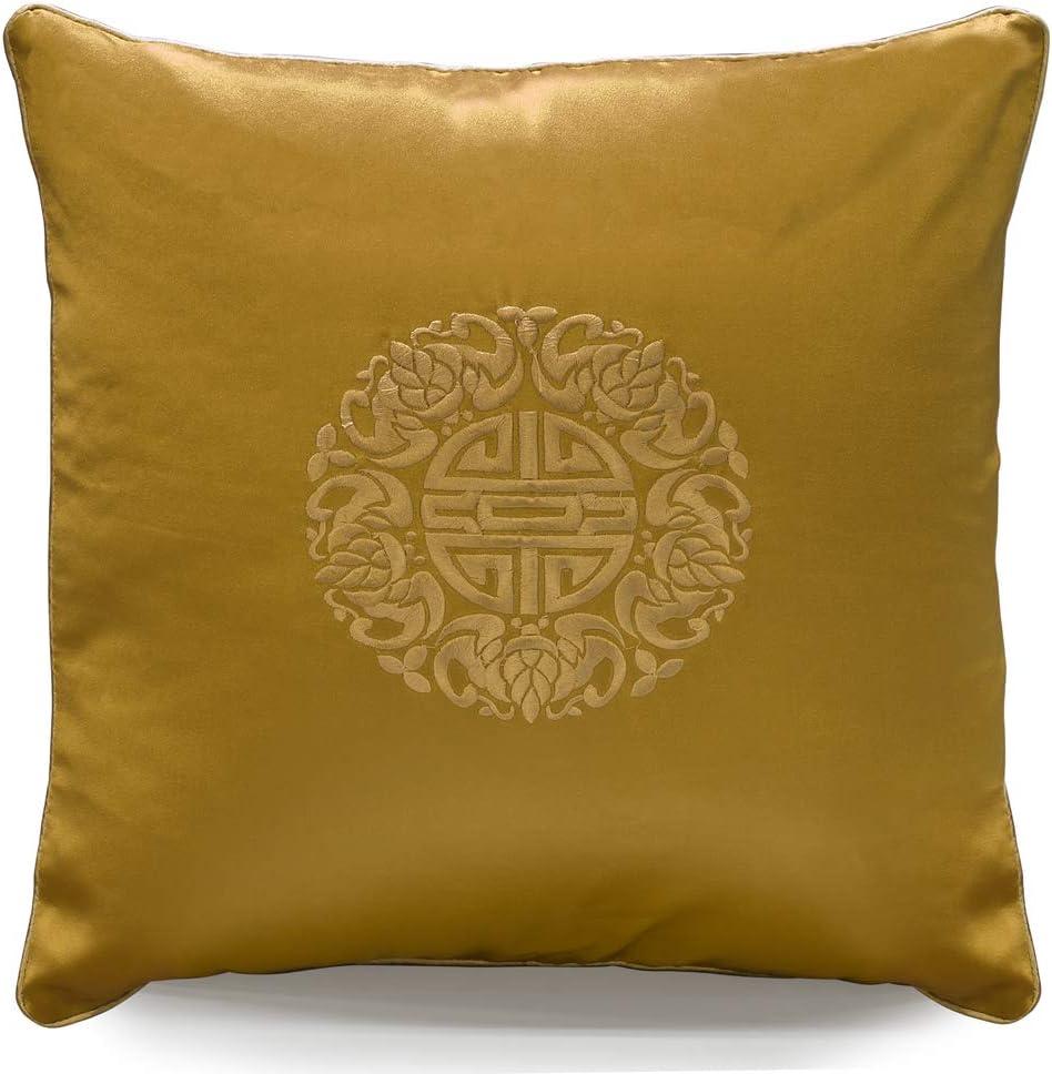 ChinaFurnitureOnline Bronze Gold Pillow Silk Trust Longevity Selling