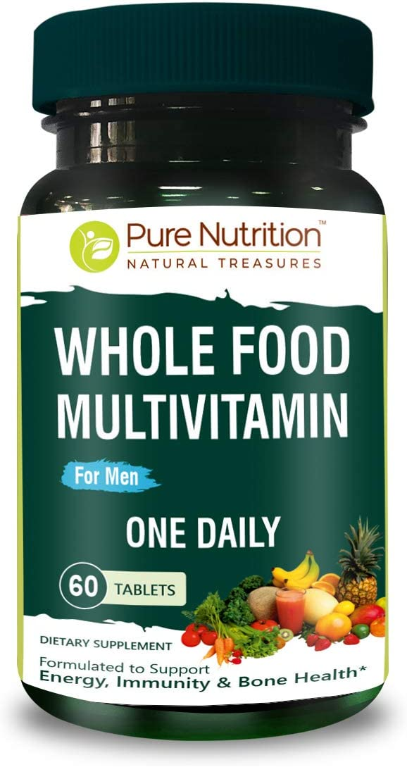 Pure Nutrition Whole Food Multivitamin for Men 1500mg. All Natural Plant Based Mens MULTIVITAMIN | Once Daily | 60 Tablets - 2 Months Supply.