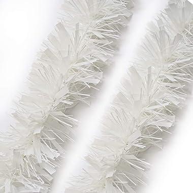 BEILAI 25ft Tinsel Garland Shiny Mylar Strands for Valentine's Day Decoration Wedding Birthday Party Supplies (White)
