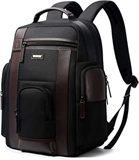 """Bopai Luxury Style Leather & Microfibre Anti-Theft Business and Travel with USB Charging Backpack B6751 Black 15.6"""" Laptop"""