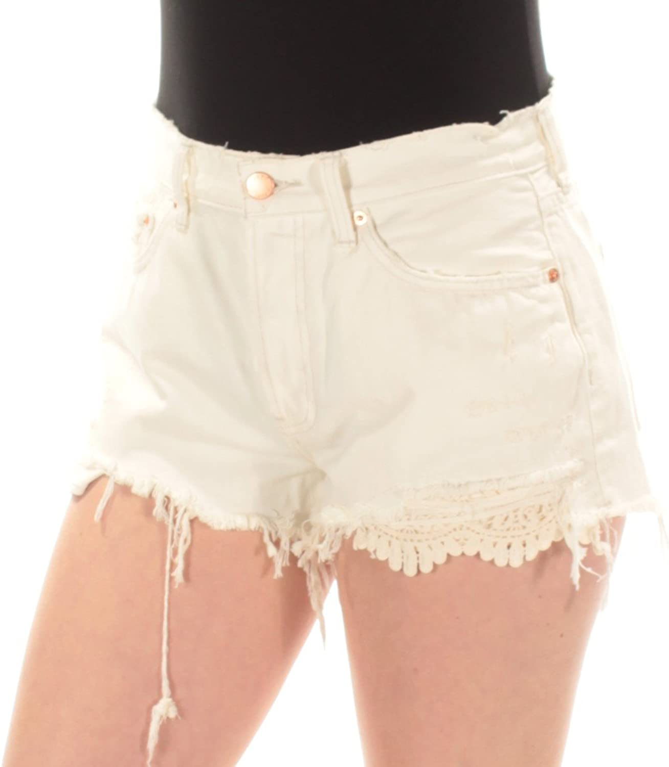 We The Free Womens Lace Inset Distressed Denim Shorts