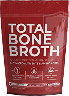 Total Bone Broth, Savory Herb Flavor - Organic and Grass-Fed Beef, Nature's All-Natural Multivitamin Packed with Key Micronutrients & Amino Acids - Improves Skin, Joints, Digestion!
