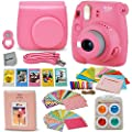 Fujifilm Instax Mini 9 Instant Fuji Camera (Flamingo Pink) + Accessories Bundle + Custom Matching Case w/Neck Strap + Photo Album + Assorted Frames + 4 Color Filters + 60 Sticker Frames + More from HeroFiber