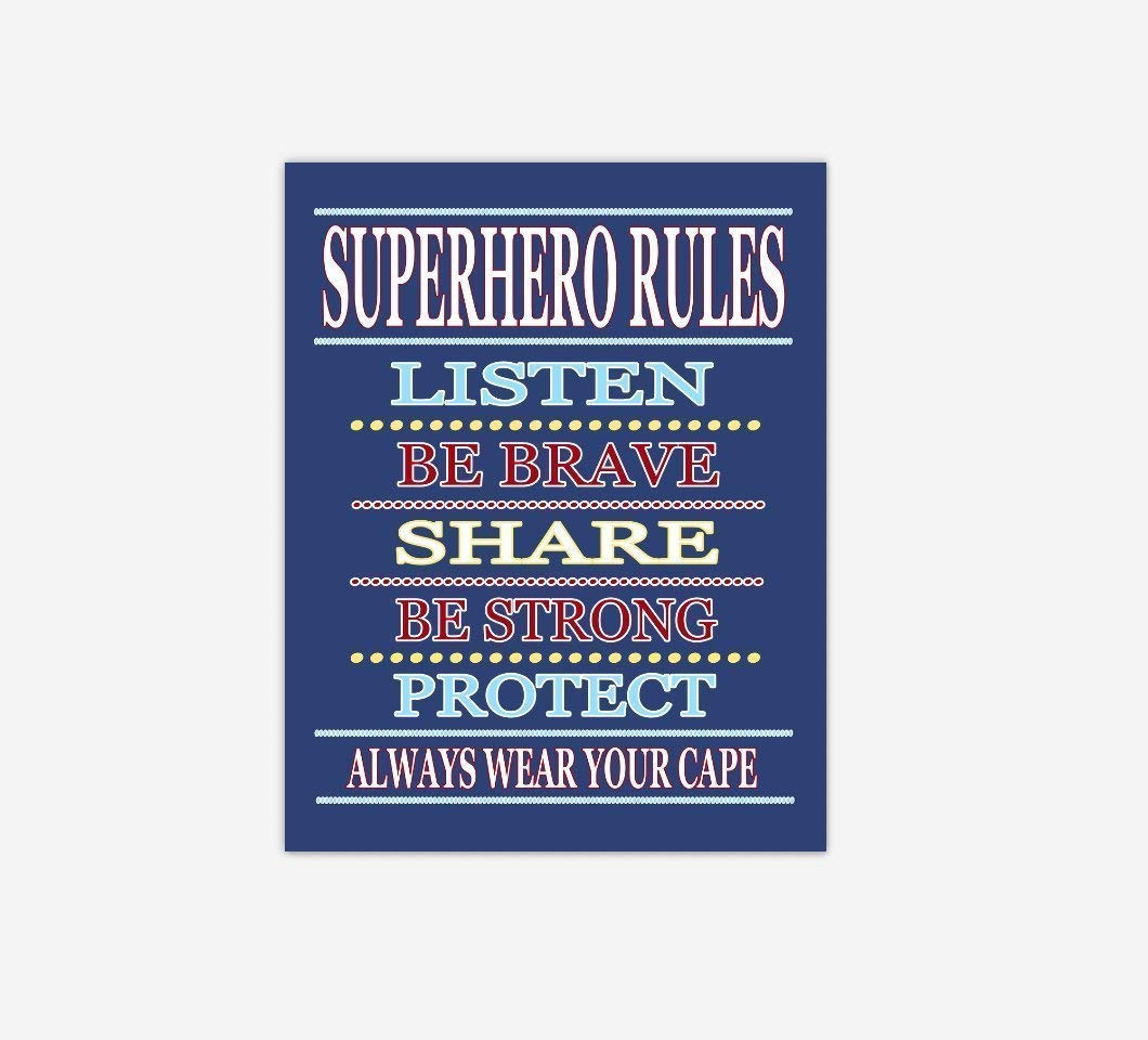 Superhero Canvas Finally popular brand Boy Bedroom Wall Art Yellow Today's only Red Blue Navy Rules