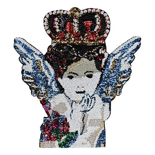 Große Pailletten-Aufnäher mit Engelsflügel, Krone, Flügel, Stickerei für Jacke, Motiv, Abzeichen, DIY, Nähen, Bekleidung, 1 Stück