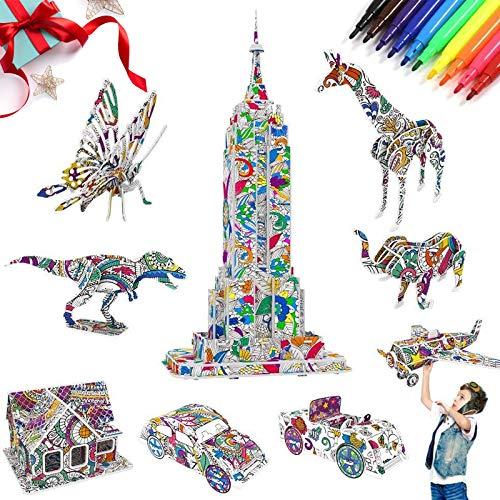AYUQI Puzzle da colorare 3D, Arte e Artigianato per Bambini Regali di Compleanno di Ragazzi e Ragazze, Creativo Giocattolo Regalo di Natale da 9 Confezioni