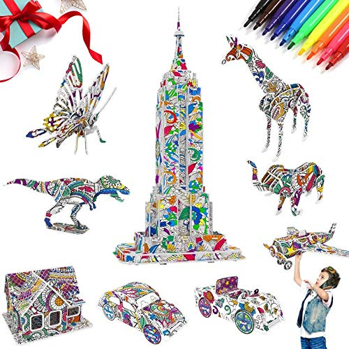 AYUQI 3D Coloring Puzzle Set for Kids, Art and Crafts for Girls and Boys DIY Educational Painting for kids Age 7 8 9 10 11 12, Birthday Toy for Children