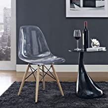 Finch Fox Inspired Modern Eames Mid Century Seat Dining Chair with Wood and Black Accents Iconic (Transparent)