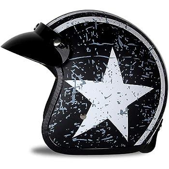 56-60cm Motif d/étoile Haute Duret/é Respirant avec des Lunettes Int/égr/ées Unisexe Adulte Casque Jet Dot//ECE Homologu/é M-XL LALEO Vintage Harley Casque /à Visage Ouvert