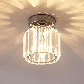 Jaycomey Mini Flush Mount Ceiling Lamp,Crystal Close to Ceiling Light,1-Light Round Chrome Pendant Lighting Fixtures for Home Entryway Kitchen