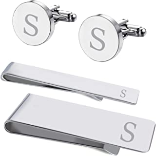4PC Cufflinks Tie Bar Money Clip Button Shirt Personalized Initials Alphabet A-Z Gift Set