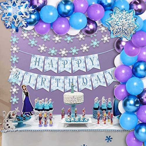 Kreatwow Winter Wonderland Birthday Party Decorations Snowflake Balloon Garland Arch kit for Girls Winter Wonderland Birthday Party Decorations White Blue Purple Balloon Garland 74 Pack