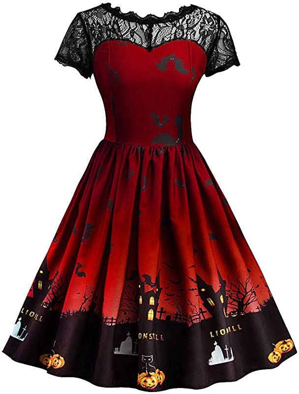 RoDeke Women S Short Sleeve Halloween Vintage Lace Casual Swing Party Cocktail Dresses