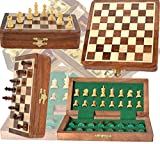 Chess Bazar - 18cm x 18cm Wood Magnetic Chess Set with Staunton Chess Pieces - Folding Game Board with Storage