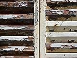 Cuadro de pared XXL con diseño de tienda francesa de ventana (80 x 60 cm, formato horizontal, impresión digital sobre lienzo de 2 cm), color marrón, beige y blanco
