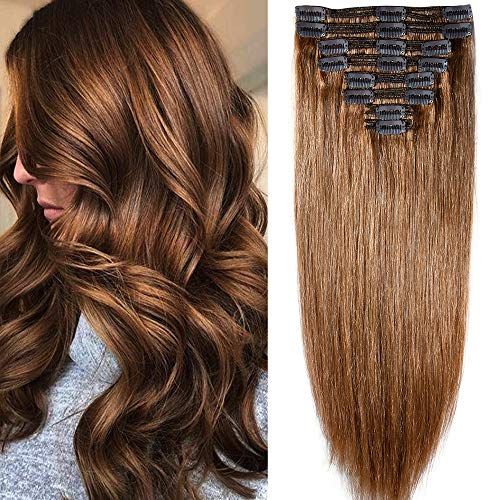 Extensions de Cheveux Humains a Clips 8 Bandes Maxi Volume - 100% Remy Hair (50cm-150g, 06 Marron clair)