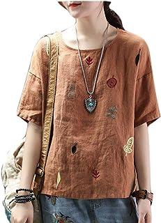 [セオヴェル]THEOVEL レディース Tシャツ 半袖 刺繍 レトロ 体型カバー カラー 春 夏