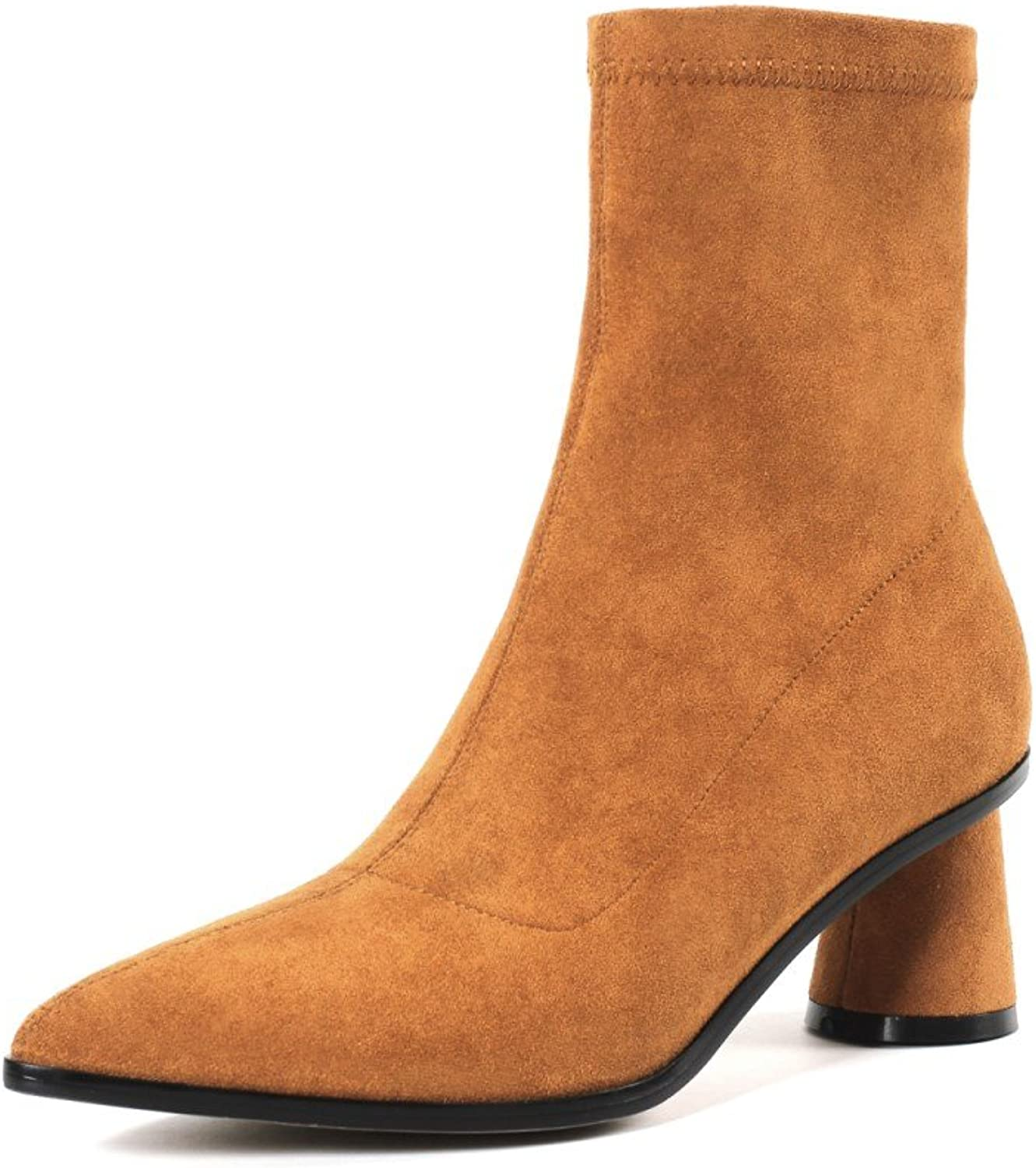 Nine Seven Women's Side Zipper Mid-Calf Boots - Pointed Toe Chunky Heel - Handmade Graceful Ankle Boots