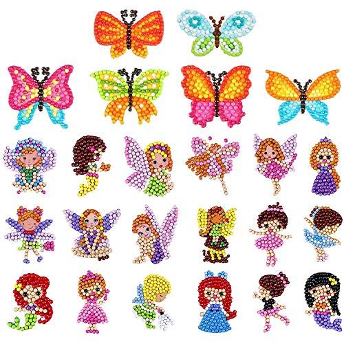 UPINS 26Pcs 5D Diamond Art Painting Stickers Kits, Creative DIY Art Craft Numbers Diamonds Animal Butterfly Fairies and Princesses Dance Girls