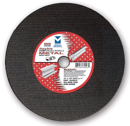 Mercer Abrasives 604040 High Speed Cut Off Wheels For Portable Gas Saws, Double Reinforced 14-Inch by 1/8-Inch x 20mm, 10-Pack
