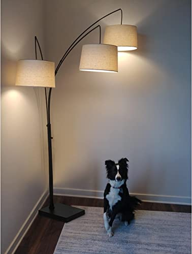 new arrival Hykolity Black discount Trinity Arc Floor Lamp with high quality Heavy Base, 3 Lights Hanging Over The Couch from Behind, 3-Head Arching Tree Lamp, for Mid Century, Modern & Contemporary Rooms, Bulbs Sold Separately online