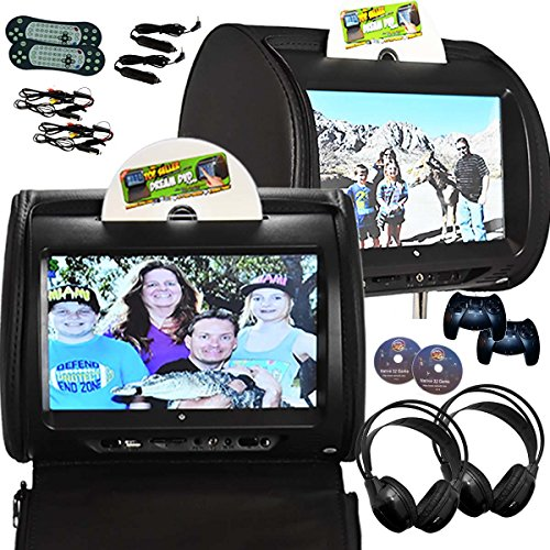 2X Autotain Hero-Y 9 inch Digital Touch Screen Headrest DVD Player Monitor Black