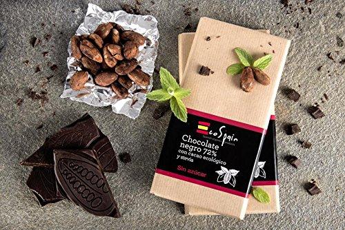 Cioccolato 72% con cacao ecologico e stevia. Senza zucchero aggiunto. Adatto per diabetici. Senza glutine. Prodotto Gourmet 100 gr.