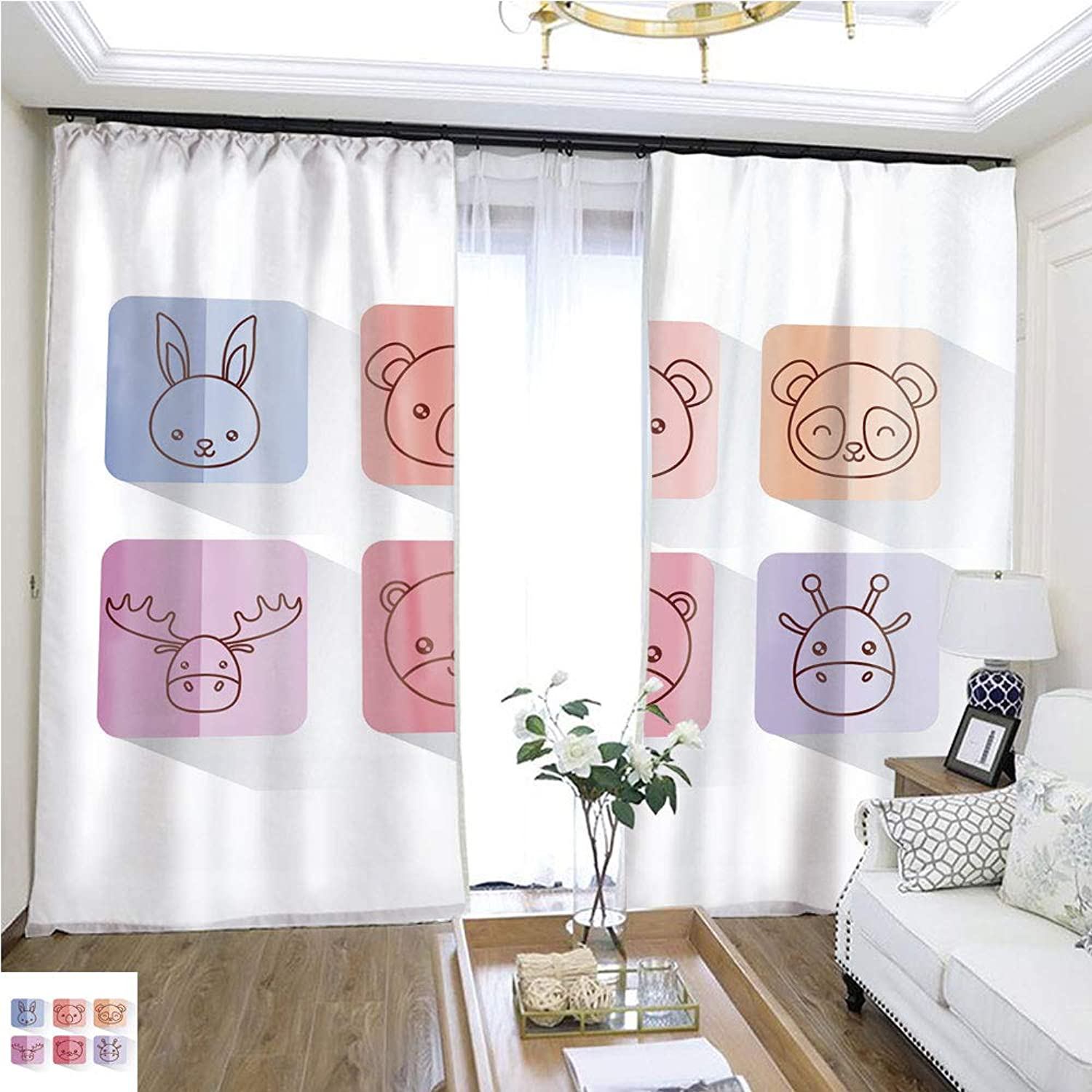 Air Port Screen Cute Animals design11118 W108 x L83 Create Warmth in Winter Highprecision Curtains for bedrooms Living Rooms Kitchens etc.