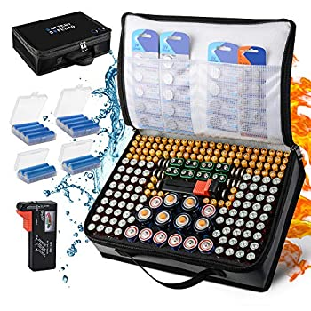 Battery Organizer Fireproof & Waterproof Battery Storage Case with Tester Fits,Explosionproof Carrying Battery Bag, Hard Holder Box for 200+ Batteries