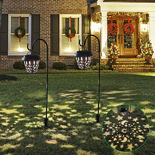 MAGGIFT 2 Pack Hanging Solar Lights Dual Use Shepherd Hook Lights with 2 Shepherd Hooks, 26.5 Inch 15 Lumen Beautiful Star &Moon Pattern of Light Christmas Outdoor Solar Coach Lights
