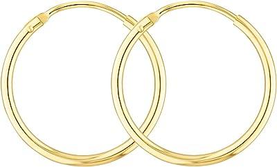 Orecchini leggerissimi Cerchi Medi Donna 20 mm in oro giallo 333/585/750, largh. 1,5 mm, marchio di garanzia made in Germany