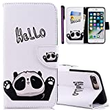 For iPhone 6S 4.7' Case ISADENSER Colorful Series Card Slot With Stand Feature Double Layer Shock Absorbing Premium Soft PU Leather Wallet Cover Flip Cases For Apple iPhone 6 6S Friendly Panda