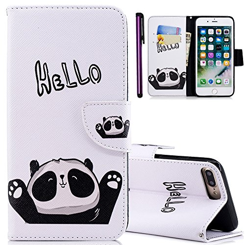 for iPhone 5S Case ISADENSER Colorful Series Card Slot Holder with Stand Feature Double Layer Shock Absorbing Premium Soft PU Leather Wallet Cover Flip Cases for iPhone 5 5S SE Friendly Panda