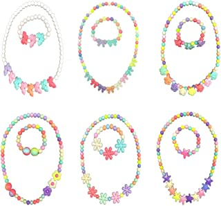 HYHP Girls Jewelry Toddler Costume Jewelry, 6 Pack Princess Necklace Kids Jewelry (6 Patterns)