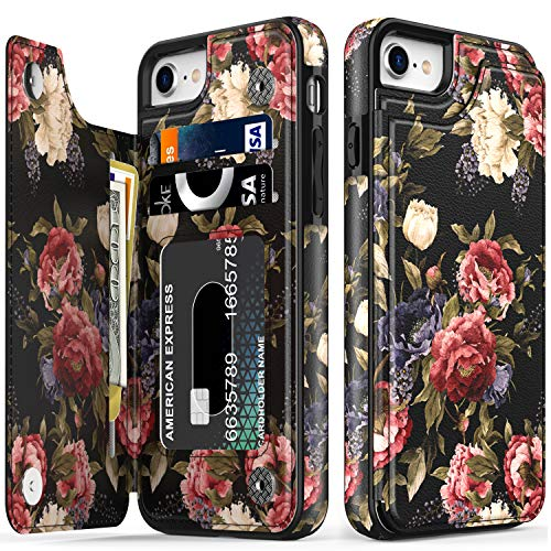 LETO iPhone 8 Plus Case,iPhone 7 Plus Case,Flip Folio Leather Wallet Case with Floral Designs,Kickstand Card Slots Cover,Protective Phone Case for iPhone 7 Plus/iPhone 8 Plus White Pink Flower