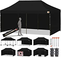 ABCCANOPY 23+ Colors Deluxe 10x20 Pop up Canopy Outdoor Party Tent Commercial Gazebo with Enclosure Walls and Wheeled Carry Bag Bonus 6 Weight Bags,2 Half Walls and 1 Screen Wall (Black)