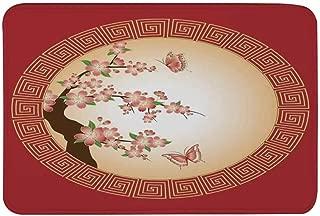 TecBillion House Decor Non Slip Door Mat,Oriental Cherry Blossom with Butterflies in Circle Frame Ornamental Illustration Floor Mat for Bathroom Living Room,23