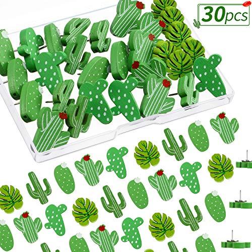30 Piezas de Alfileres de Madera Chinchetas de Hojas de Cactus Palma Chinchetas Lindas Decorativas para Fotos de Pared, Mapas, Tablón de Anuncios o Tableros de Corcho