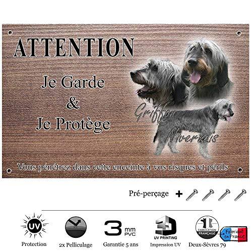 Pets-Easy.com Panneau Attention au Chien personnalisée Chien Griffon - pré perforée et vis proposées. De 30 cm à 15 cm…