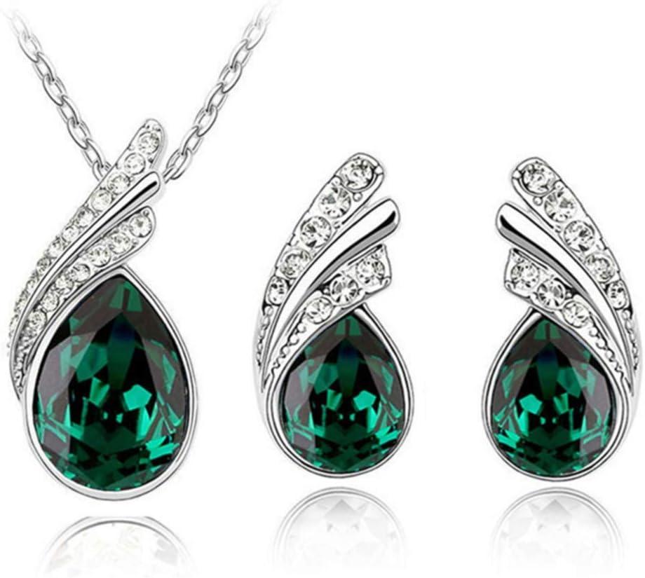 SOURBAN Angel Wing Necklace Earrings Set Crystal Rhinestone Stud Earrings Wedding Jewelry,Green