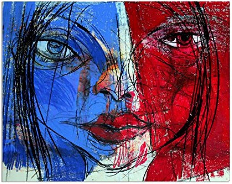 Deinebilder24 - Deko Bilder für die Wand - 80 x x x 120 cm - Abstrakt, Frau, Gesicht, Französin Zeichnung, Illustration B01MYXK5VW  | Helle Farben  9b47ef