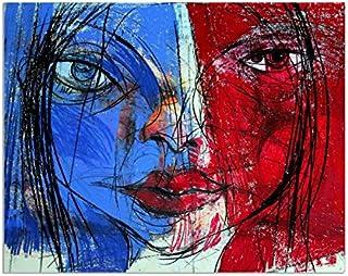 Deinebilder24 - Deko Bilder für die Wand - - - 80 x 120 cm - Abstrakt, Frau, Gesicht, Französin Zeichnung, Illustration B01MYXK5VW  Zu einem niedrigeren Preis c5aac9