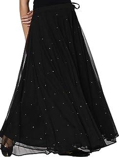 Srishti Mesh Flared Skirt - Large Black