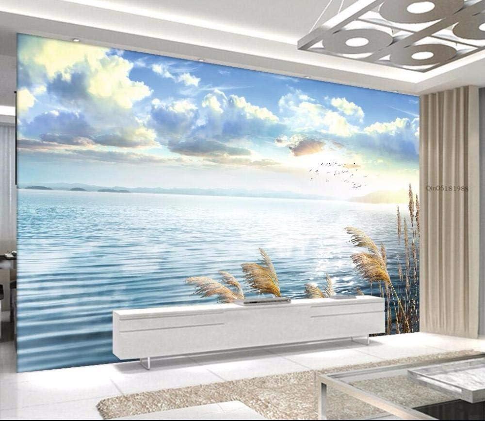 RTYUIHN 3D Wallpaper Calm Lake Reed Landsca Cloud Mail order Sky Blue White Austin Mall
